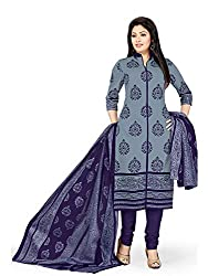 PShopee Grey & Purple Printed Cotton Unstitched Salwar Suit Dress Material