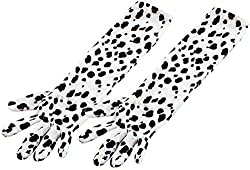 Adult Fancy Party Handwear Costume Dalmatian Print Elbow Length Gloves Uk by Bristol Novelty