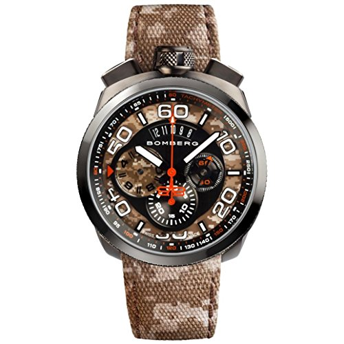Bomberg Men's Bolt 68 45mm Multicolor Cloth Band IP Steel Case Quartz Analog Watch 45CHPGM.018.3