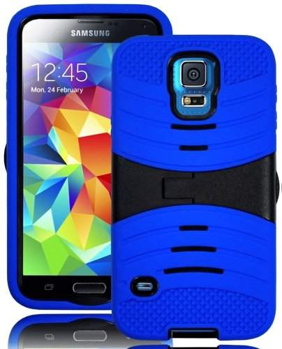 Mylife (Tm) Deep Royal Blue And Stealth Charcoal Black - Shockproof Survivor Series (Built In Kickstand + Easy Grip Ridges) 2 Piece + 2 Layer Case For New Galaxy S5 (5G) Smartphone By Samsung (Internal Flex Silicone Bumper Gel + Internal 2 Piece Rubberize