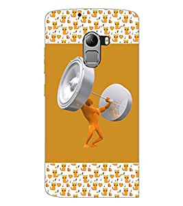 PrintDhaba Weight Lifting D-3073 Back Case Cover for LENOVO K4 NOTE A7010a48 (Multi-Coloured)