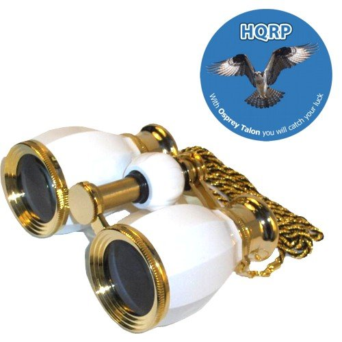 HQRP Opera Glasses Antique Style White pearl with Gold Trim w/ Necklace Chain plus HQRP Coaster