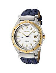 Seiko Men's SGE428 SQ 100 White Dial Blue Leather Watch