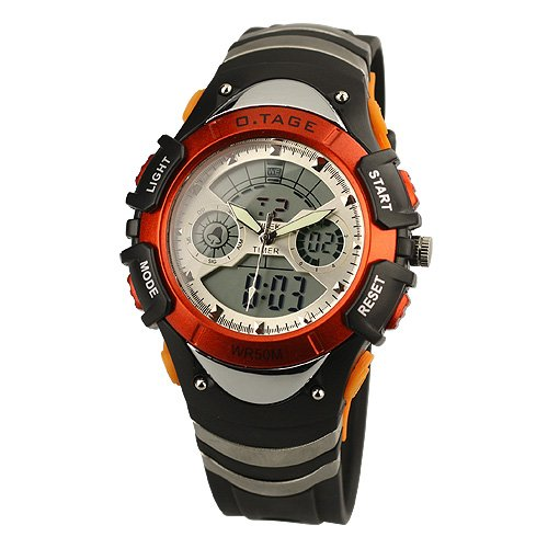 Brand New Mens Orange Brezel Rubber Band Analog Digital Dual Dial Luxury Sport Wrist Watch 1