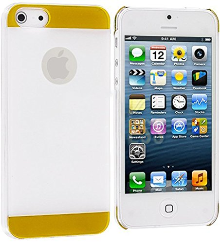 Mylife (Tm) Yellow + White Two Tone Series (2 Piece Snap On) Hardshell Plates Case For The Iphone 5/5S (5G) 5Th Generation Touch Phone (Clip Fitted Front And Back Solid Cover Case + Rubberized Tough Armor Skin + Lifetime Warranty + Sealed Inside Mylife Au
