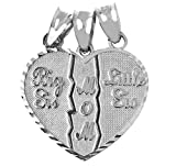 Textured Sterling Silver 3-Piece Diamond-Cut Mom and Daughters Breakable Heart Necklace Pendant