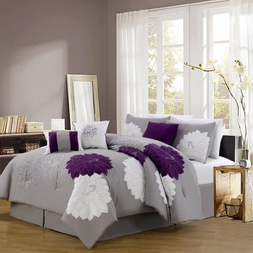 Cheap Kinglinen® 7 Piece Queen Provence Embroidered Comforter Set