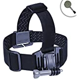 Universal Comfort Head Strap Action Camera Mount with Elastic Stretch-Fit Band and Included J Hook and Tripod Screw Adapter by USA Gear - Works With Sony 4K Action Camera FDR-X1000V , HDR-AS10 , HDR-AS100V , HDR-AS15 and More