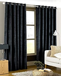 Luxurious Black Heavyweight Velvet 66x90 Lined Ring Top Curtain Drapes by Curtains