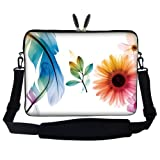 17 17.3 inch Flower Leaves Design Laptop Sleeve Bag Carrying Case with Hidden Handle & Adjustable Shoulder Strap for 16