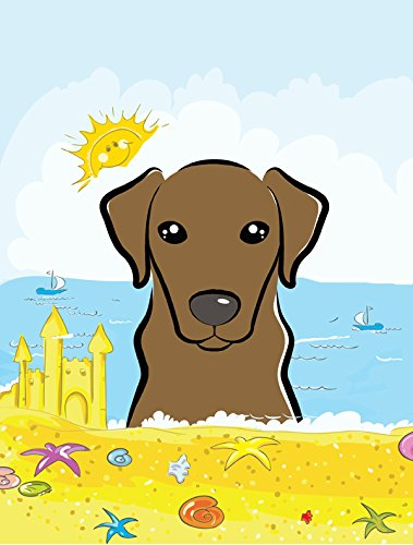 Chocolate Labrador Summer Beach Flag Canvas House Size BB2102CHF