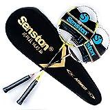 Senston Carbon Badminton Set,Badminton Schläger.Inklusive 2 Schläger(Gelb und rosa) und Schlägertasche.