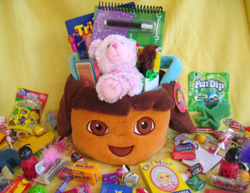 Kids Easter Gift Basket - Candy, Games, Coloring, Activites, FUN! And...a cute plush toy!