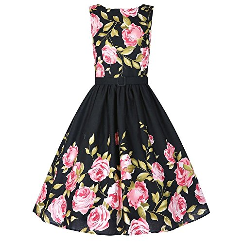Vintage Women Floral Spring Garden Fit and Flare Retro Swing Dress,2XL