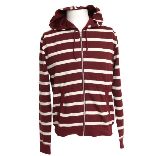 Mens Stripe Pattern Hooded Zip Up Hoodie/Jumper -3 Options (S - 34inch - 36inch) (Burgundy/Cream)