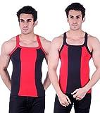 Zimfit Gym Vest - Pack of 2 (Red_Black_36)