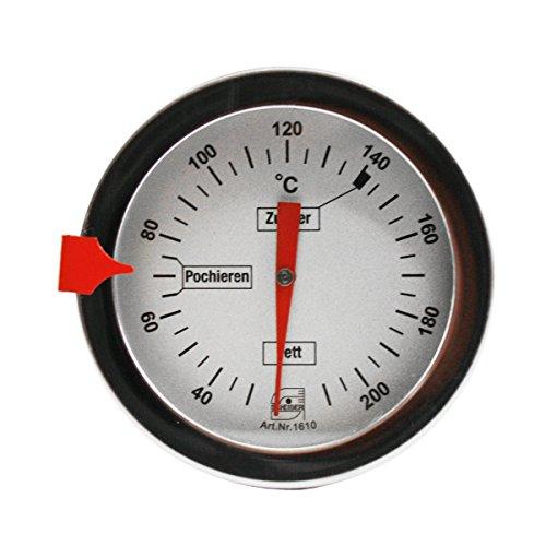 Thermomètre de cuisson en acier inoxydable pour sucre, graisse, huile, etc. - Longueur 30cm - Bimétallique et analogique