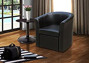 Tub Chair with Footstool BLACK       review and more information