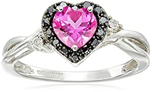 10k White Gold Heart Shaped Created Pink Sapphire with Round Black and White Diamond Ring, Size 7