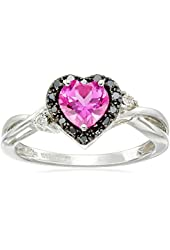 10k White Gold Heart Shaped Created Pink Sapphire with Round Black and White Diamond Ring