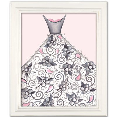 Doodlefish DB1710pnk-White Petal Princess Artwork, White Frame