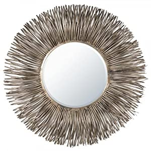 Large unusual style round gold silver metal wall mirror - Unusual large wall mirrors ...