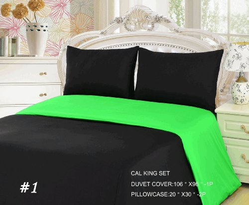 Tache 3 Piece 100% Cotton Solid Lime Green And Black Reversible Duvet Cover Set, Cal King front-695534