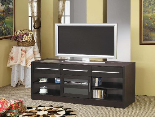 Image of Inland Empire Furniture Ryman Cappuccino Solid Wood Flat Panel TV Stand with CONNECT IT Power Drawer (B008R9AJ6Q)