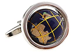 MRCUFF Globe Earth Really Spins Cufflinks with a Presentation Gift Box