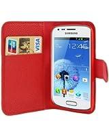 Custodia cover PORTAFOGLIO pelle per Samsung Galaxy Trend s7560 Plus s7580 + 2 pellicole - ROSSO