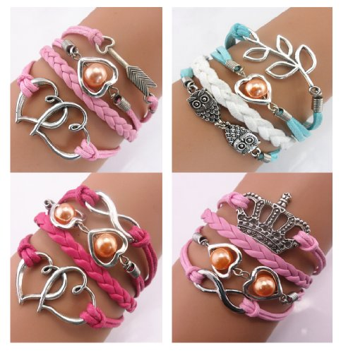 Twinkle Handmade Fashion Charm for Friendship Gift Party Accessory Leather Bracelet (4 Pieces/lot) (Pearl in Heart)
