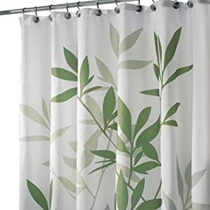 Amazon.com: InterDesign Leaves X-Long Shower Curtain, Green: Home ...