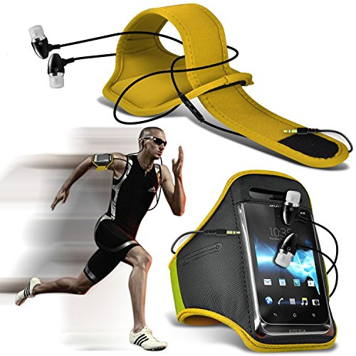 ( Yellow + Ear phone ) LG X power Case High Quality Fitted Sports Armbands Running Bike Cycling Gym Jogging Ridding Arm Band Case Cover With Case High Quality Fitted in Ear Buds Stereo Hands Free Headphones Headset with Built in Micro phone Mic and On-Off Button by i-Tronixs