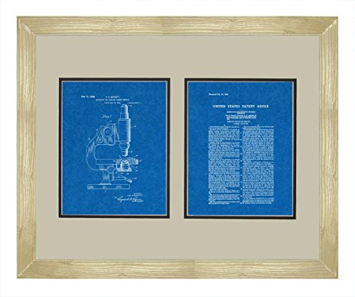 "Microscope And Counting Chamber Patent Art Blueprint Print In A Natural Raw Wood Frame (16"" X 20"")"