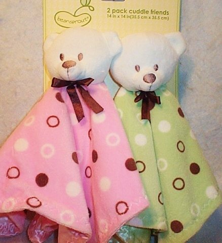 Bear Cuddle Friends Security Blanket 2-Pack (Chocolate & Pink And Chocolate & Sage Green) front-1041735