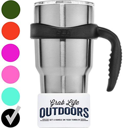 GLO - YETI Tumbler Cup Handle For 30 Oz Rambler - Fits Ozark Trail, RTIC & more - (Black)