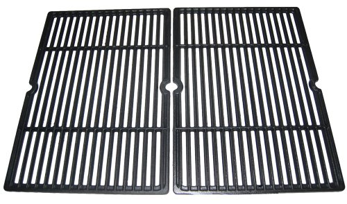 Music City Metals 66652 Matte Cast Iron Cooking Grid Replacement for Select Gas Grill Models by Charbroil, Coleman and Others, Set of 2
