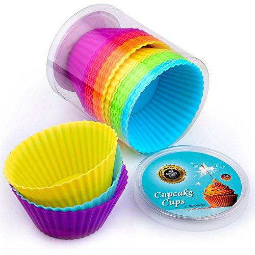Prix silicone moules pour muffins - 24 Cupcake Cups - 6 couleurs 7cm diagonale - Faire Caissettes par surprise et la décoration - bleu, vert, jaune, orange, rouge, violet - chocolat, crème, Funfetti - pour les meilleures recettes!