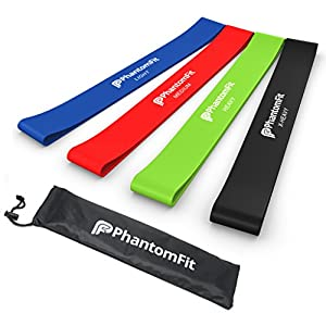 Resistance Loop Bands - Set of 4 Light, Medium, Heavy, and X-heavy Exercise Bands - Best Fitness Band for Ankle, Legs, Knee, or Arm Exercises - Perfect for Physical Therapy Workout, P90x, and Crossfit Training - Best Home Equipment for Men and Women - Lif