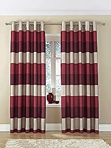 "Brazil Red Beige Cream Striped Faux Silk Lined Ring Top 66"" X 72"" Curtains #oir from PCJ SUPPLIES"