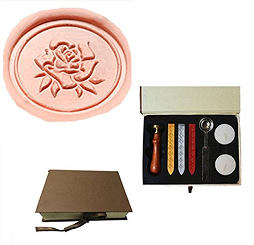 MDLG Vintage Romance Rose Leaf Flower Custom Picture Logo Wedding Invitation Wax Seal Sealing Stamp Sticks Spoon Gift Box Set Kit
