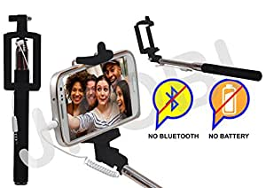 Selfie Stick Monopod With Wired Aux Cable Connectivity Compatible For Micromax Canvas Nitro 3 E352 -Black