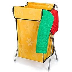 House of Quirk Nylon Mesh Foldable Laundry Basket Easy To Fold Basket- Orange