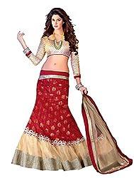 7 Colors Lifestyle Red Coloured Net Embroidered Semi-Stitched Lehenga Choli