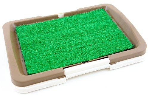 """Puppy Potty Trainer (Brown) Indoor Grass Training Patch - 3 Layers - 18"""" X 13"""" front-488582"""