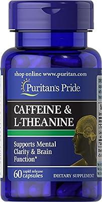 Puritan's Pride Caffeine 50 mg & L-Theanine 100 mg-60 Capsules