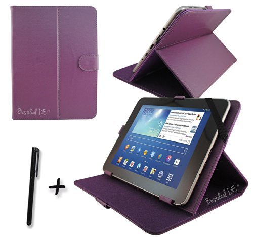 "Lila PU Lederner Tasche Case Hülle für Point of View ProTab 3XXL & ProTab 25XXL 10.1"" Zoll Tablet PC + Stylus"