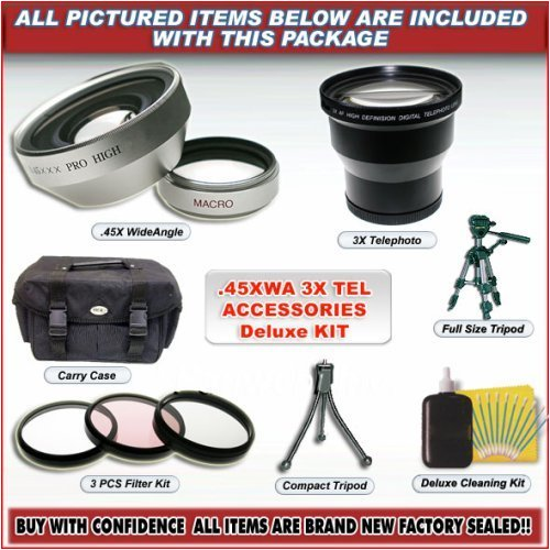 Accessory Kit W 3x Lens Panasonic Dmc-fz7 Fz5 Fz30 Fz50