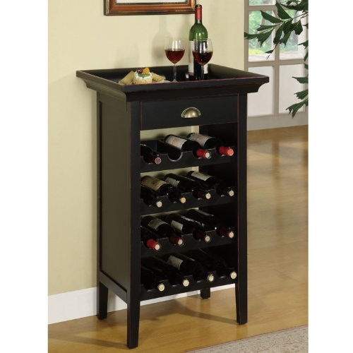 Powell Black with Merlot Rub through Wine Cabinet (Wine Rack With Removable Tray compare prices)