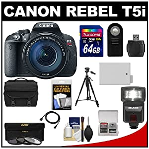 Canon EOS Rebel T5i Digital SLR Camera & EF-S 18-135mm IS STM Lens with 64GB Card + Battery + Case + Flash + 3 UV/CPL/ND8 Filters + Tripod + Accessory Kit
